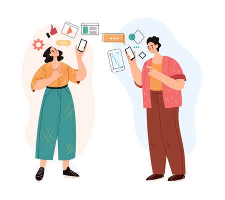 People man woman characters using phone and social media concept. Modern style simple flat vector illustration