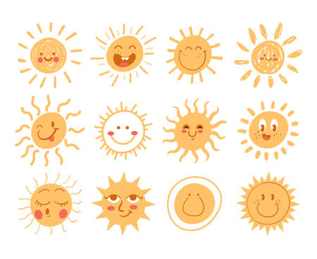 Set of simple hand drawn doodle sun with happy funny smiling faces isolated on white isolated background. Modern style simple flat vector illustration Illustration