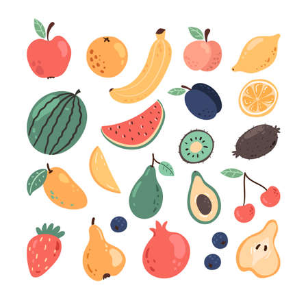 Set of simple hand drawn doodle fruits and berry isolated on white isolated background. Modern style simple flat vector illustration