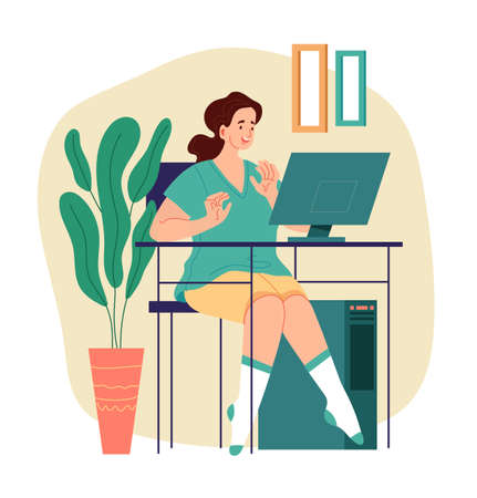 Woman freelancer worker character sitting on table and working at computer. Modern style simple flat vector illustration Illustration