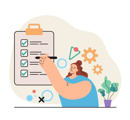 Woman character holding pencil in hand and put green tick to board to do list personal organizer concept. Modern style simple flat vector illustration