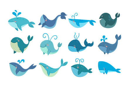 Set of different cartoon whales characters for childrent book isolated on white background