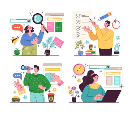 Business people office workers characters development new project and working on business concept set. Vector graphic design cartoon modern style illustration Illustration