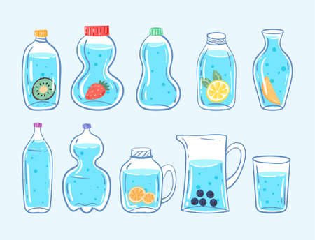 Set of healthy blue clean different bottle of water with lemon and berry isolated on white background and hand drawn doodle style