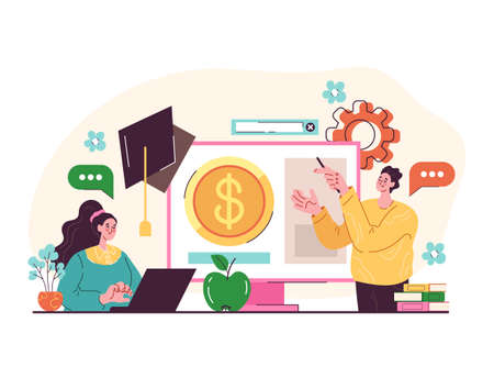 Financial literacy education elearning professional coaching study tutorial concept. Vector graphic design cartoon modern style illustration