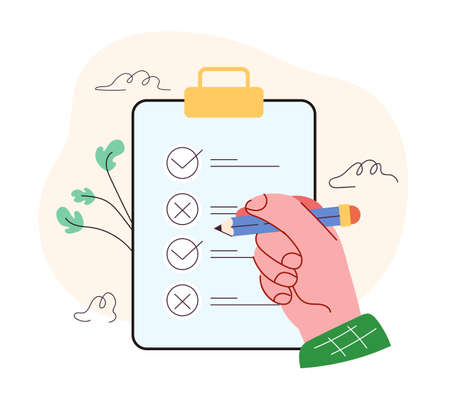 Human person hand put tick in box with pencil. Clipboard with checklist questionnaire concept. Vector flat isolated modern style illustration