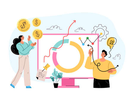 Stock trading income growth ROI investment money income increase roi concept. Vector flat isolated modern style illustration