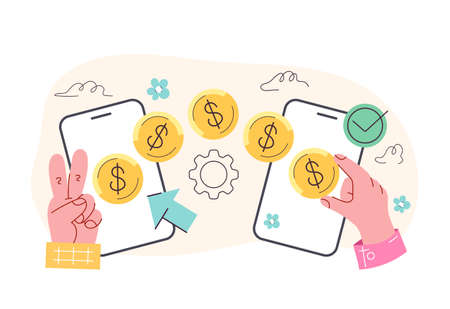 Money transaction process from phone to phone concept. Vector flat isolated modern style illustration