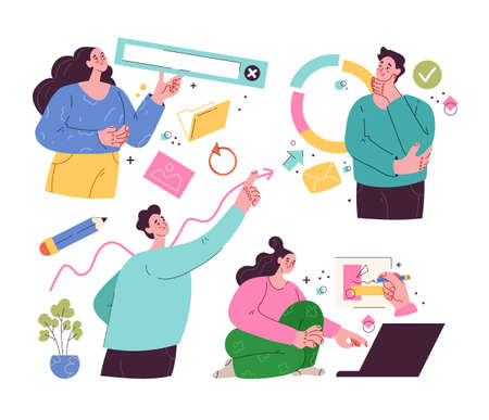 People man woman characters doing business internet online activities. Teamwork concept. Vector flat isolated modern style set