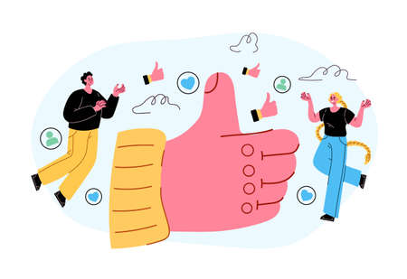 Social media like button thumb up concept. Vector flat isolated modern style illustration