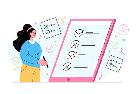 Woman character voting and pulling cross and thick in box list. Online digital internet vote concept. Vector flat isolated modern style illustration