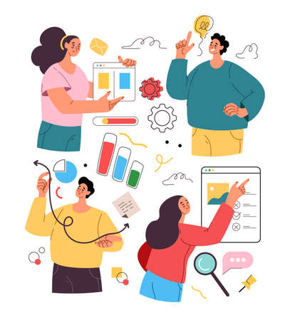 Abstract business people man woman characters isolated activity set and development business project. Vector flat isolated modern style illustration