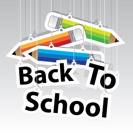 in the back: Back to School Paper Hanging Sign with Pencil paper hanging sign background -Vector
