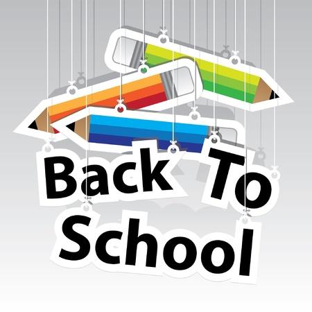 ni�os con pancarta: Volver a la Escuela de Papel Colgando sesi�n con papel L�piz colgando fondo de la muestra-vector