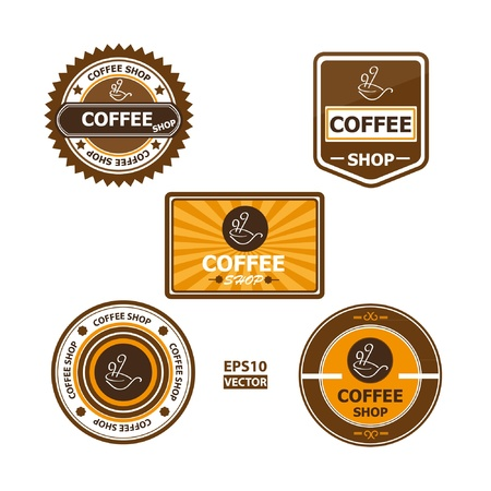Coffee shop symbols and signs collection  Vector set of coffee shop labels and badges with coffee cups