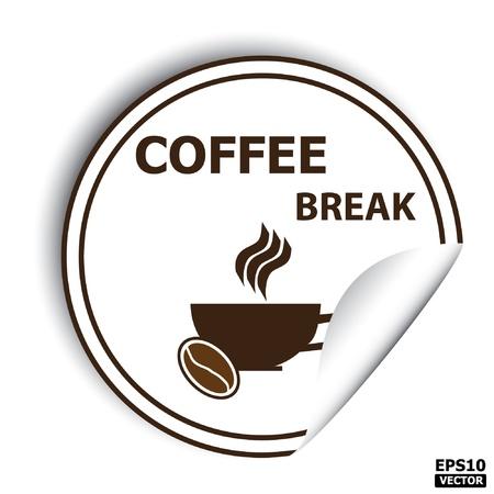 Coffee break sign, sticker, stamp, tag, label, icon, button