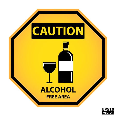 caution sign:   Octagon yellow and black caution with alcohol free area text and sign isolated on white background