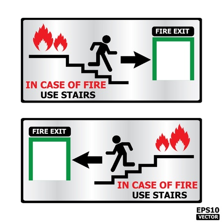 door sign: Rectangle fire exit door or emergency door sign -eps10 vector