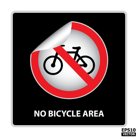 No bicycle area sign  sticker, label, icon, badge, symbol, banner, tag