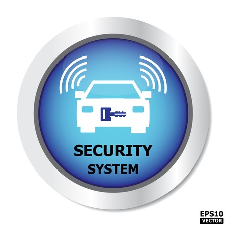 open car door: Security system button, icon, sign on blue color