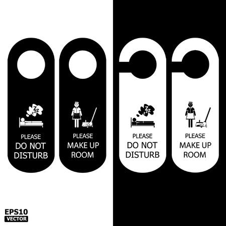 dangle: Black and White Door Hanger Tags for Room in Home, Hotel, Resort  Illustration