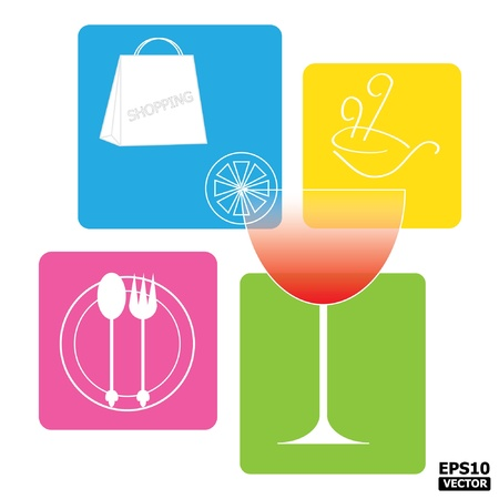 dish disk: Colorful Convenience Area Sign for Food, Drink and Shopping