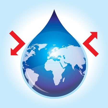 Save and Protect Water of The World Concept with red arrow