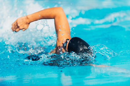 swimming race: Free style swimming Stock Photo