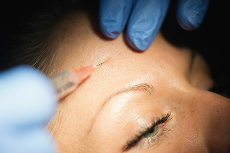 beautification: Botox injection beautification close-up Stock Photo