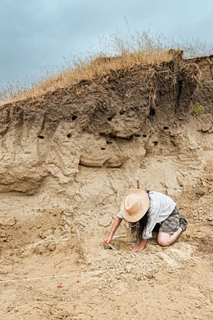 Archaeological site with archaeologist revealing human skull
