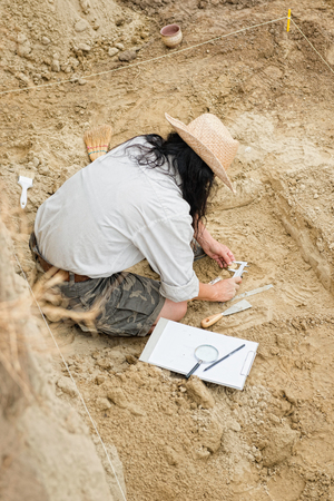 Archeaologist working on site Stock Photo