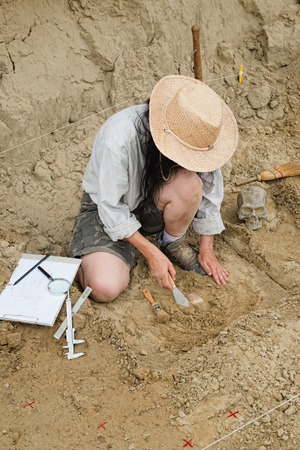 archaeologist: Archaeologist recovering ancient pottery object
