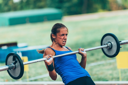 competitor: Female crossfit competitor Stock Photo