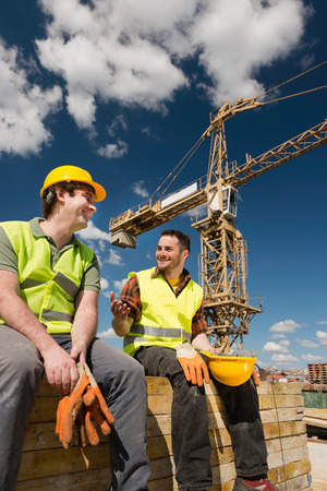 syndicate: Union no-work guys at the construction site Stock Photo