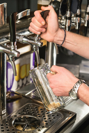 draught: Draught beer in bar Stock Photo