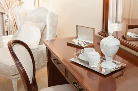 luxury room: Luxury hotel room welcome kit
