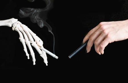 background e cigarette: E-Cigarette vs cigarette concept