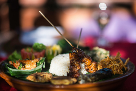 asian cuisine: Asian Cuisine - selection of Asian foods, served on a platter. Selective focus, shallow depth of field Stock Photo