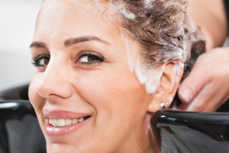 washing hair: Hair Salon - washing hair Stock Photo