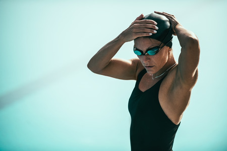 Swimmer warming up for race