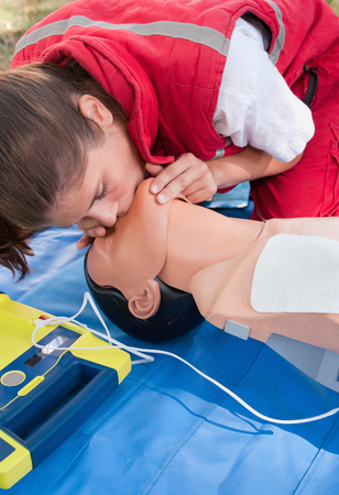 CPR - medical emergency procedure with defibrillator
