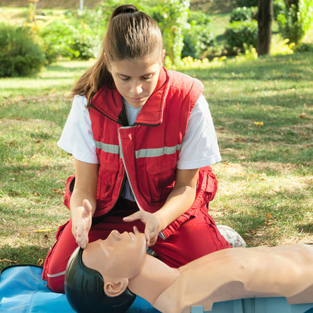 actual: Model is member of actual European first aid champions team for 20112012. Stock Photo