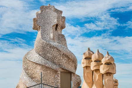 tall chimney: Roof detail from La Pedrera, Barcelona, Spain Stock Photo