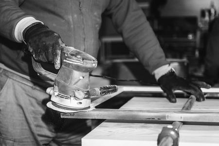 white work: Carpentry work in black and white