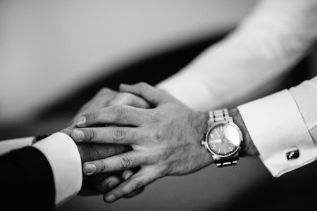 cordial: Cordial business handshake in black and white Stock Photo
