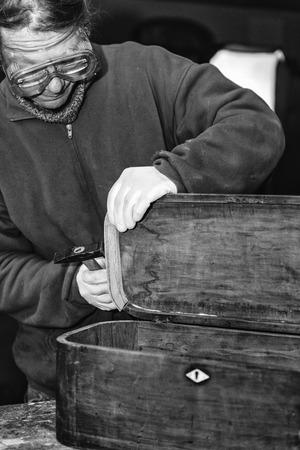 restauration: Furniture restaurator working