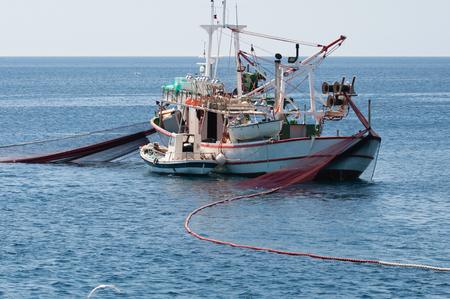 commercial fishing net: Net fishing ship Stock Photo