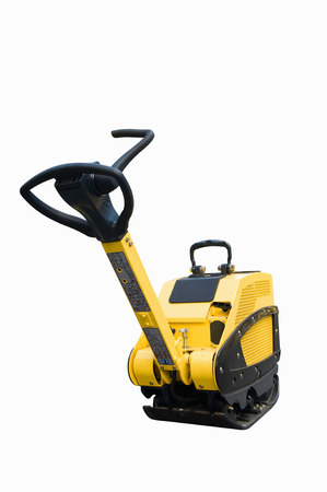 compaction: Construction equipment: Vibratory plate compactor. Isolated on white, clipping path included