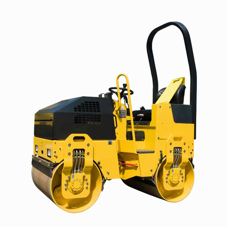 compactor: Construction equipment: Compactor roller. Isolated on white, clipping path included