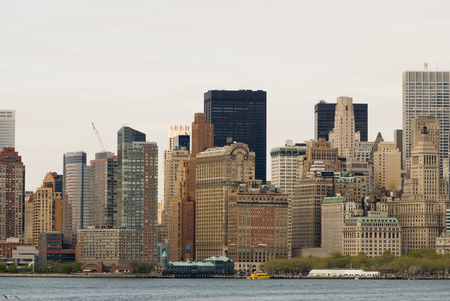 bowery: Skyline of the Financial District and Bowery Park, lower Manhattan, New York City.
